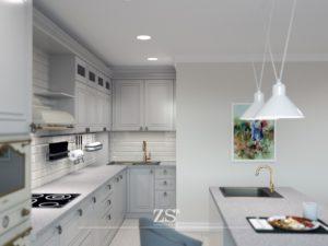 Кухня гостиная современная классика Тюмень